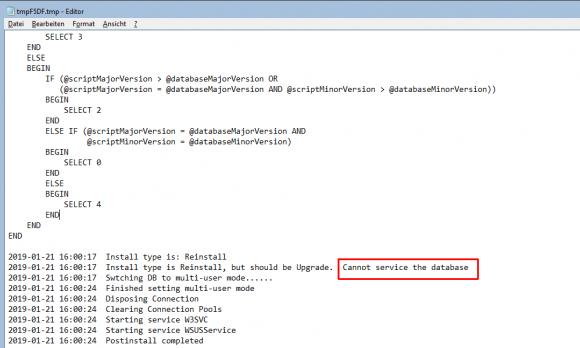 Der Aufruf von wsusutil.exe mit dem Schalter /servicing führt zu einem Fehler.