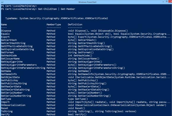 Methoden von Zertifikat-Objekten in PowerShell