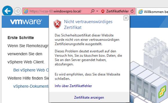 Ungültiges Zertifikat: Browser-Warnung bei vSphere Web Client ...