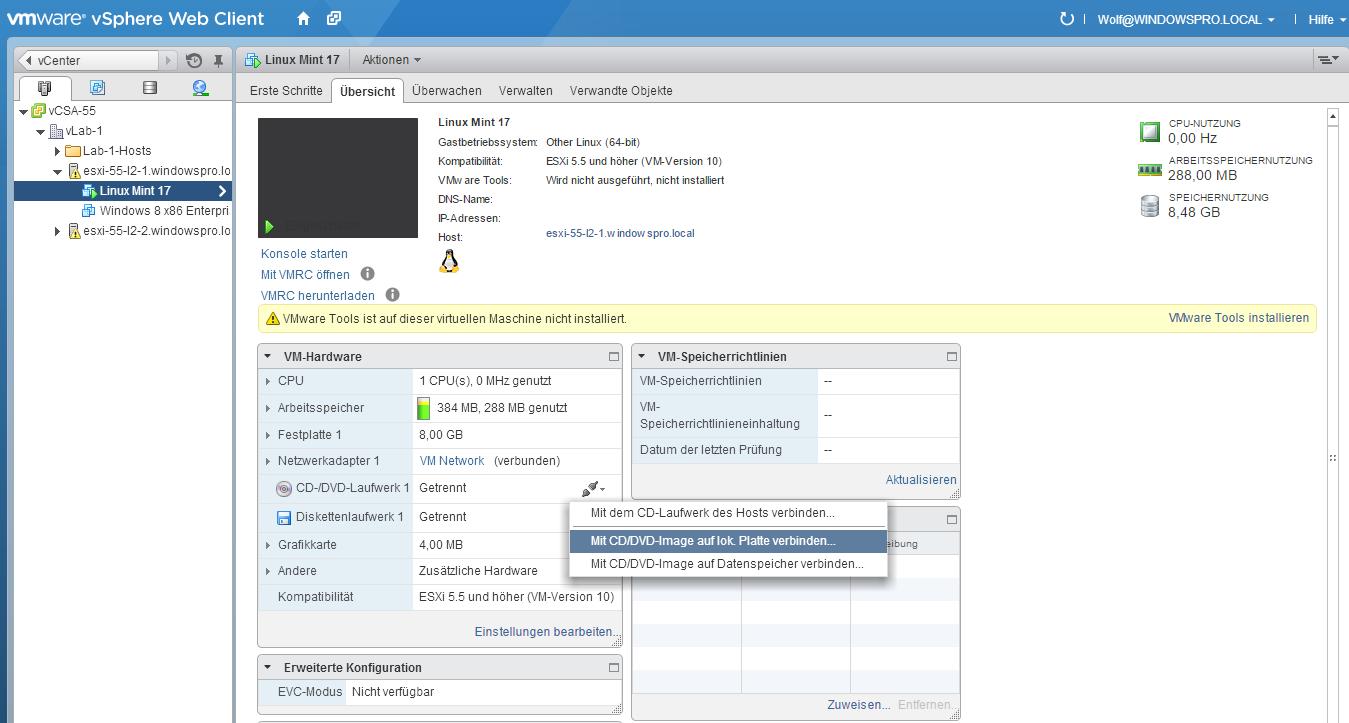 VMs installieren und konfigurieren mit der VMware Remote