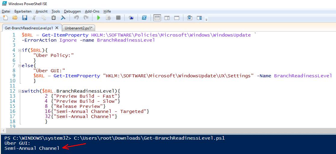 Windows  Build Auslesen