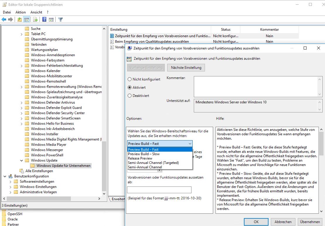 Semi-Annual Channel (Targeted): Service-Branch für Windows 10