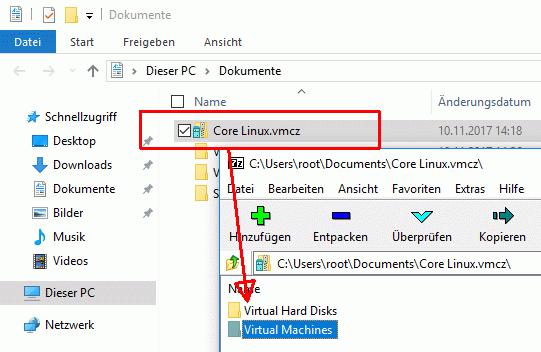 Die Teilen-Funktionen packt die VM in ein ZIP-Archiv