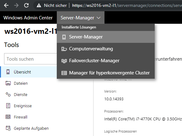 Die Module von Windows Admin Center