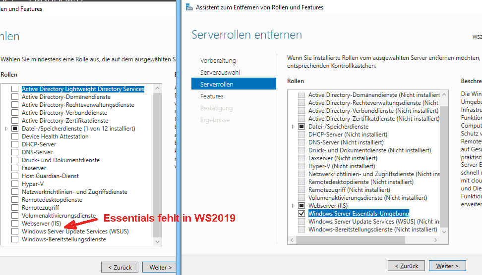 Windows Server 2019 Essentials: Features verschwinden