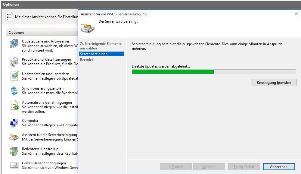 WSUS-Server bereinigen mittels GUI-Assistenten oder