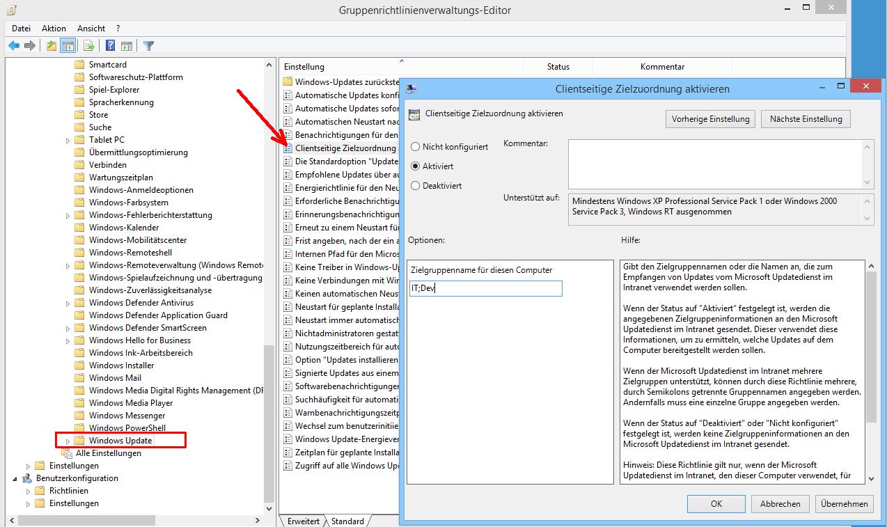 Clients für WSUS konfigurieren, Computer zu Gruppen