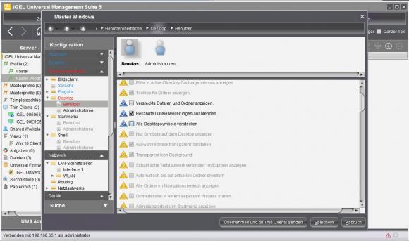 Von UMS aus können dank UMA diverse Windows-Einstellungen remote geändert werden.
