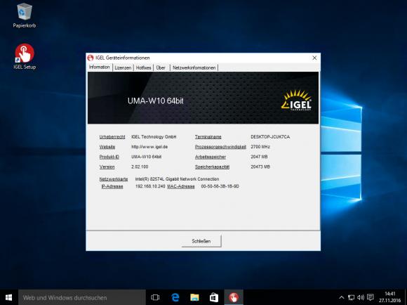 Der UMA umfasst ein lokales Setup-Programm für Windows-Clients.