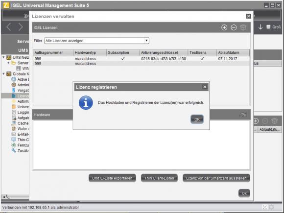 Lizenzen werden im UMS hinterlegt und können den Clients bei deren Ersterfassung zugewiesen werden.