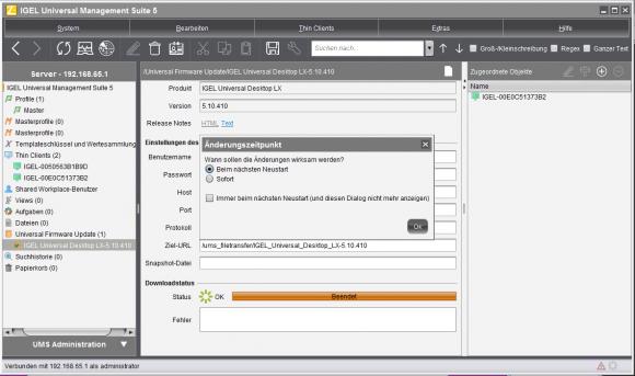 Mit UMS können Administratoren alle IGEL-Clients vollständig remote managen, inklusive Neustarts der Geräte.