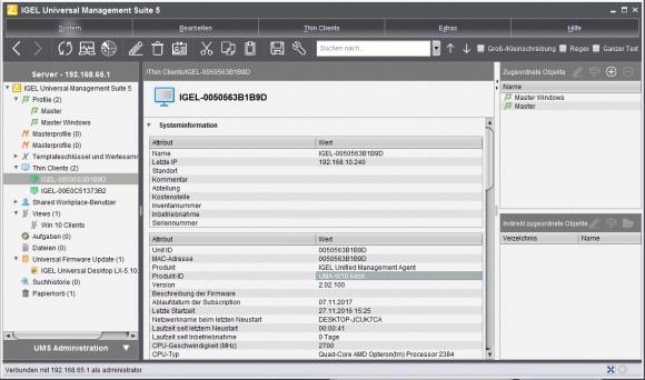UMS gibt einen vollständigen Überblick über alle Parameter eines Clients.
