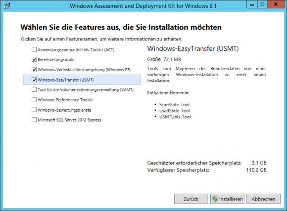 Der Configuration Manager setzt die Installation des ADK für Windows 10 voraus.