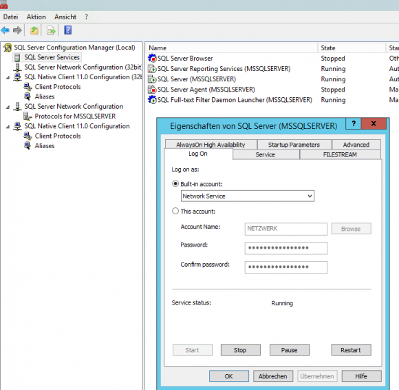 Der SQL Server Dienst muss mit den richtigen Berechtigungen laufen.