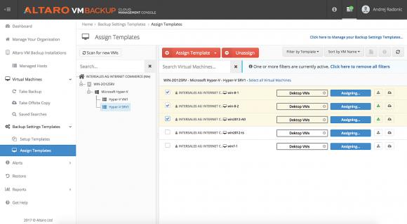 Mittels Templates lassen sich auch in der Cloud-Konsole Backup-Definitionen an Gruppen von VMs zuordnen.