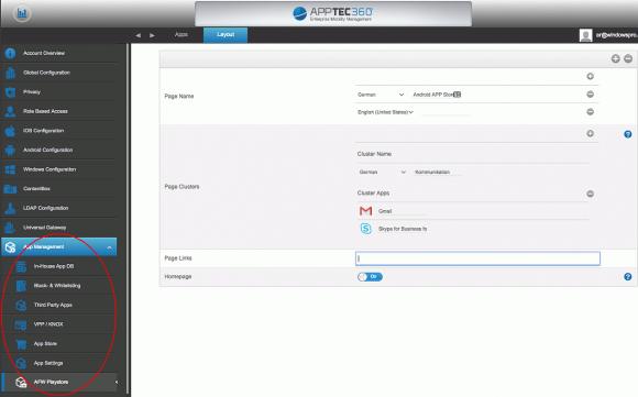 Für Android-Geräte unterstützt AppTec EMM neben Android for Work auch Samsung Knox.