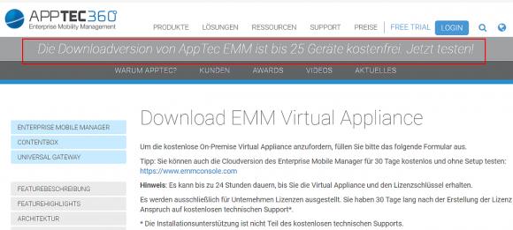 Die Download-Version liegt als Virtual Appliance vor und ist für bis zu 25 Geräte kostenlos.