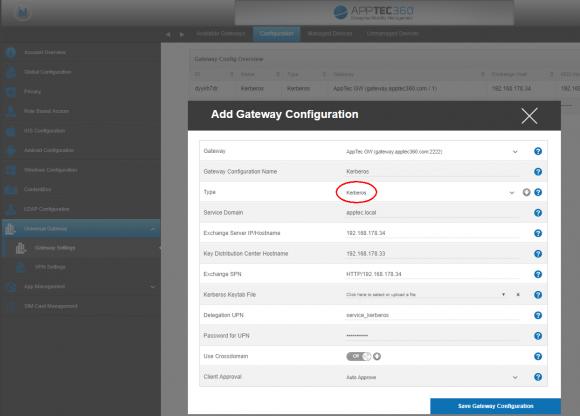Das Gateway wird über die EMM-Konsole konfiguriert. Dazu gehören die Verbindung zum Exchange-Server und die Kerberos-Option.
