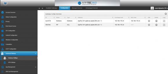 Mehrere Gateways können für das Device-Management eingerichtet und mit dem AppTec EMM verbunden werden.