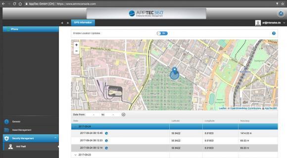 Über das Self-Service-Portal können Benutzer zum Beispiel verlorene Geräte orten.