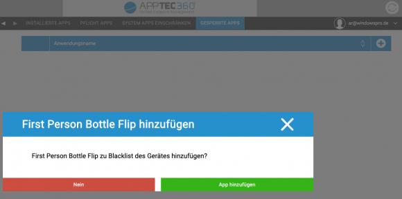 Aus der Web-Konsole können Administratoren unerwünschte Windows-Anwendungen löschen und deren Installation verbieten.