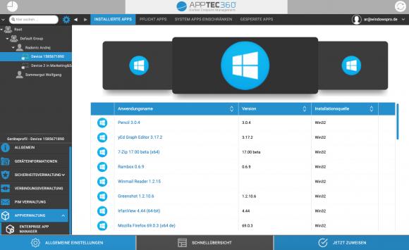 Das EMM inventarisiert automatisch die auf Windows-10-PCs installierten Anwendungen.