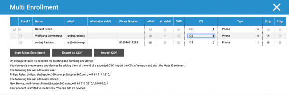 User und Endgeräte kann man einzeln oder in einer Massenoperation per CSV-Import hinzufügen.