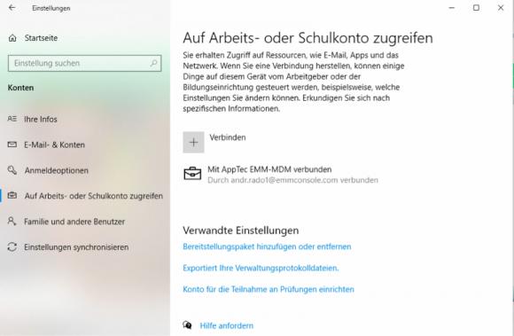 Windows-10-User müssen ihre EMM-Zugangsdaten in der Systemsteuerung eingeben, um das Gerät für das Management zu registrieren.