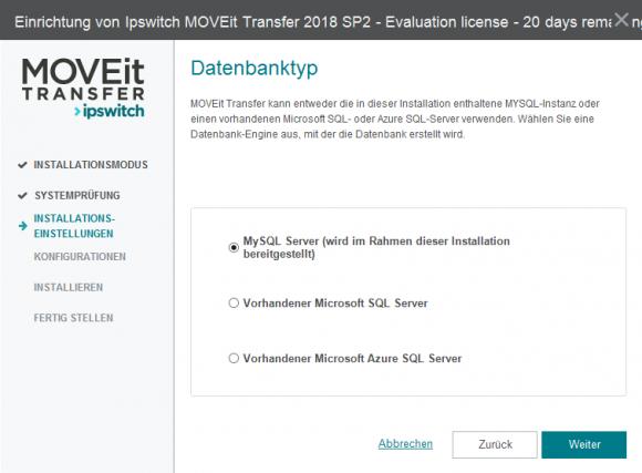 Datenbankoptionen für Ipswitch MOVEit
