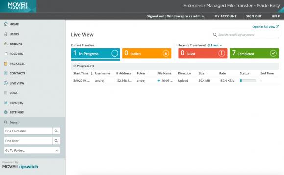 Die Live View ist primär für Administratoren gedacht und bietet einen schnellen Überblick über alle aktuellen Transfervorgänge.