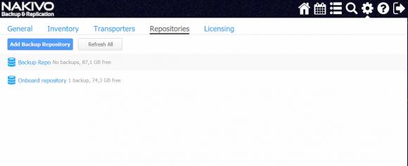 Backup-Repositories arbeiten auf Wunsch mit Deduplizierung, Kompression und Verschlüsselung.