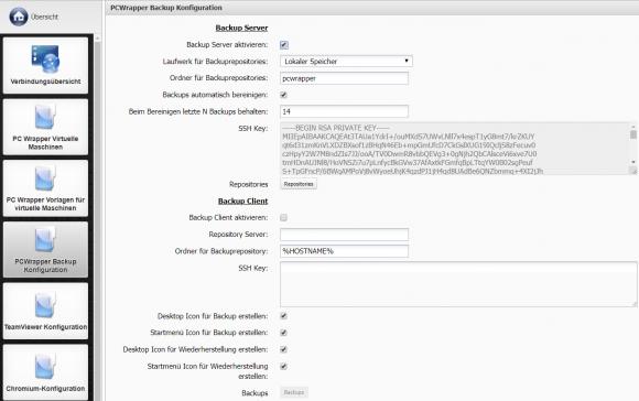 Konfiguration des integrierten VM-Backups über die Kommbox
