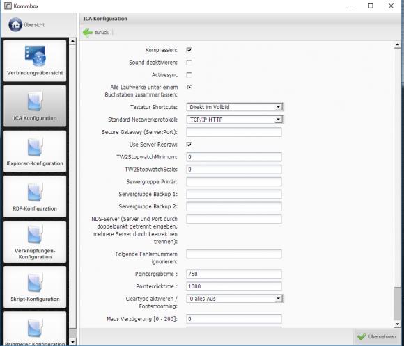 Die Rangee Kommbox hält Module für mehrere Remote-Anwendungsprotokolle bereit. Im Bild wird eine ICA-Verknüpfung defininiert.