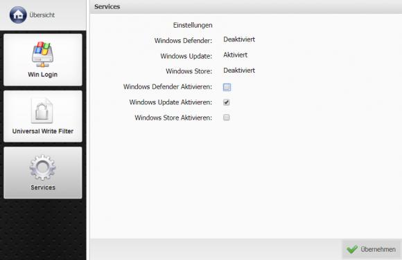 Windows-Dienste wie Defender und Update lassen sich über Kommbox verwalten.