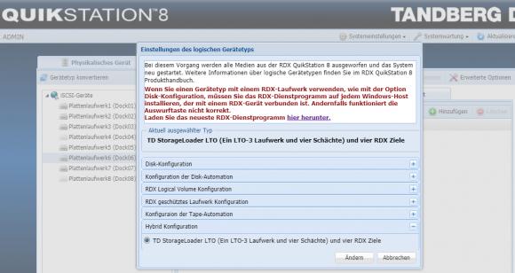Die QuikStation unterstützt mehrere Betriebsmodi für die Wechselmedien. Die Einrichten erfolgt über einen Assistenten.