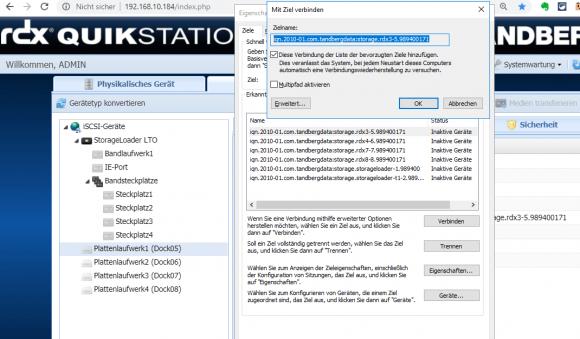 Die Appliance wird prinzipiell per iSCSI angebunden (im Bild der Microsoft iSCSI-Initiator zum iSCSI-Target des RDX-Systems).