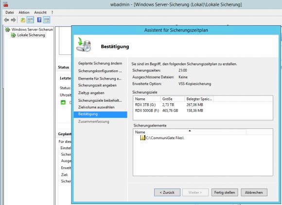 Für Windows Server Backup muss in der Appliance für die betreffenden Medien der Fixed Disk Mode aktiviert werden.