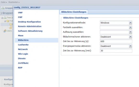 Thin Clients können von der Management-Konsole aus bis ins Detail konfiguriert werden