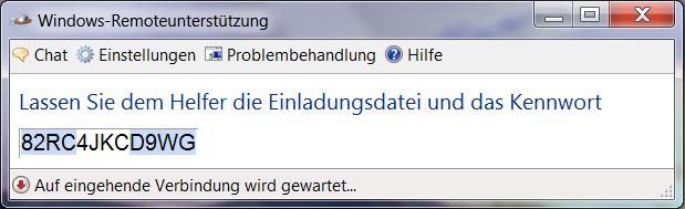 anleitung: fernwartung von windows 7 mit remoteunterstützung, Einladung