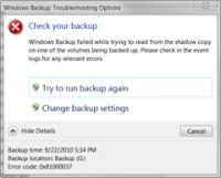 Windows Backup steigt mit Fehler 0x81000037 aus