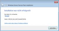 Die Installation von Service Pack 1 auf Windows 2008 R2 ist fehlgeschlagen