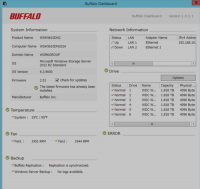 Die Buffalo TeraStation WSH5610DNS2 - das Dashboard