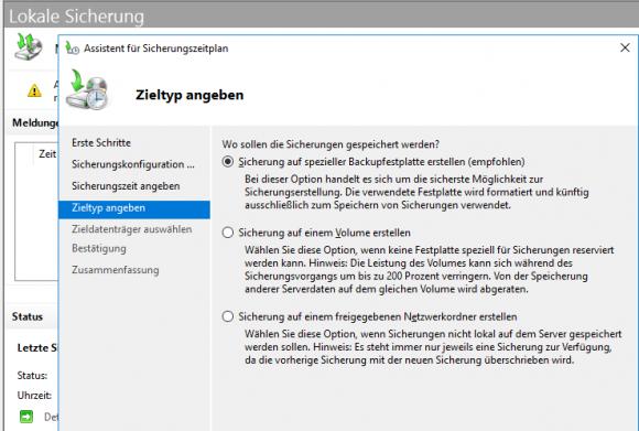Die Windows Server-Sicherung unterstützt nur lokale Festplatten und Netzfreigaben als Backup-Medien.
